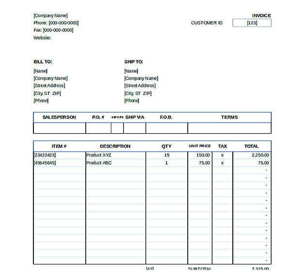 Downlodable Sales Invoice Template