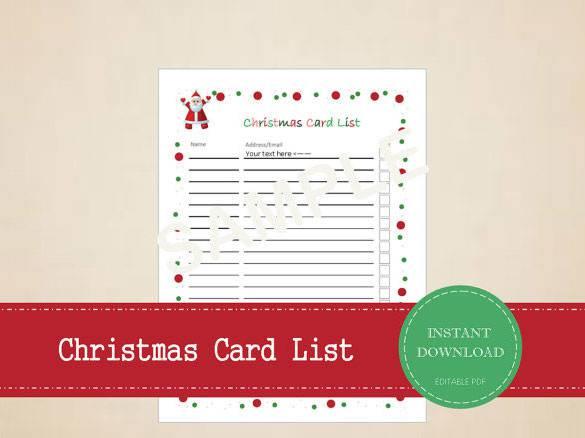Editable Christmas Card List Printable Download