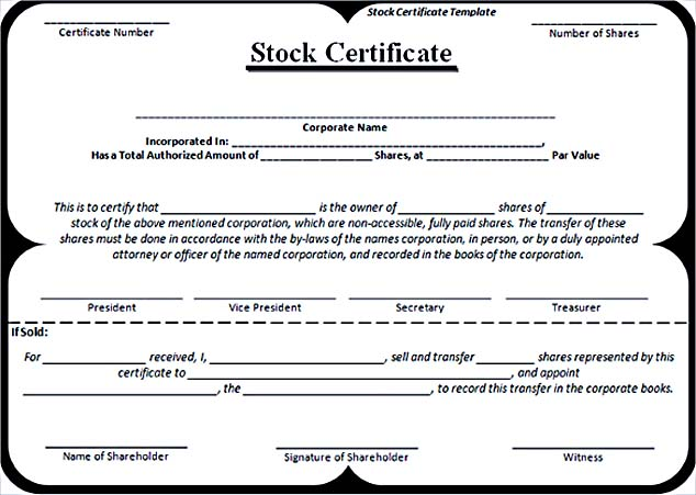 Editable Stock Certificate Template Word Format Free