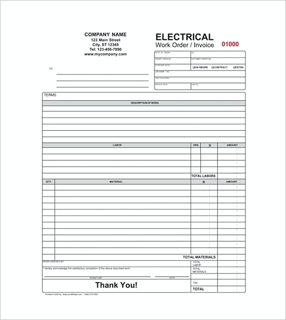 Electrical Contractor Receipt