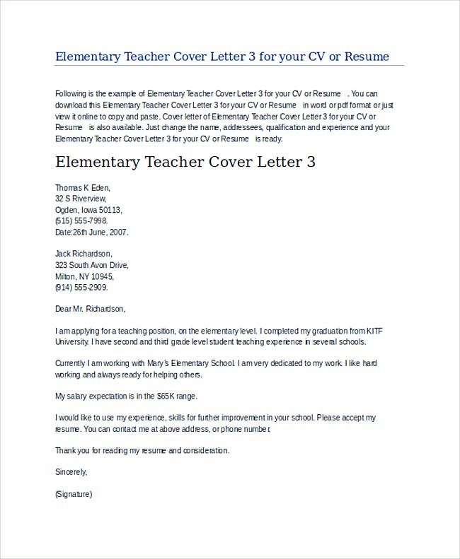 teachers cover letter examples
