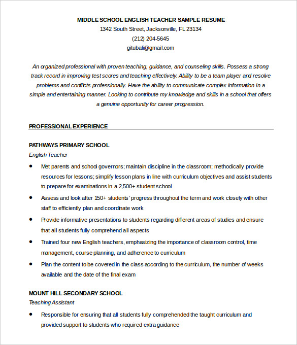 Resume format for science teachers