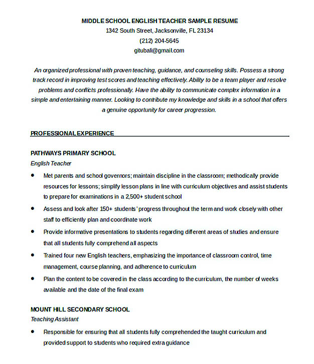 English Teacher Resume Sample | Sample Resume And Free Resume