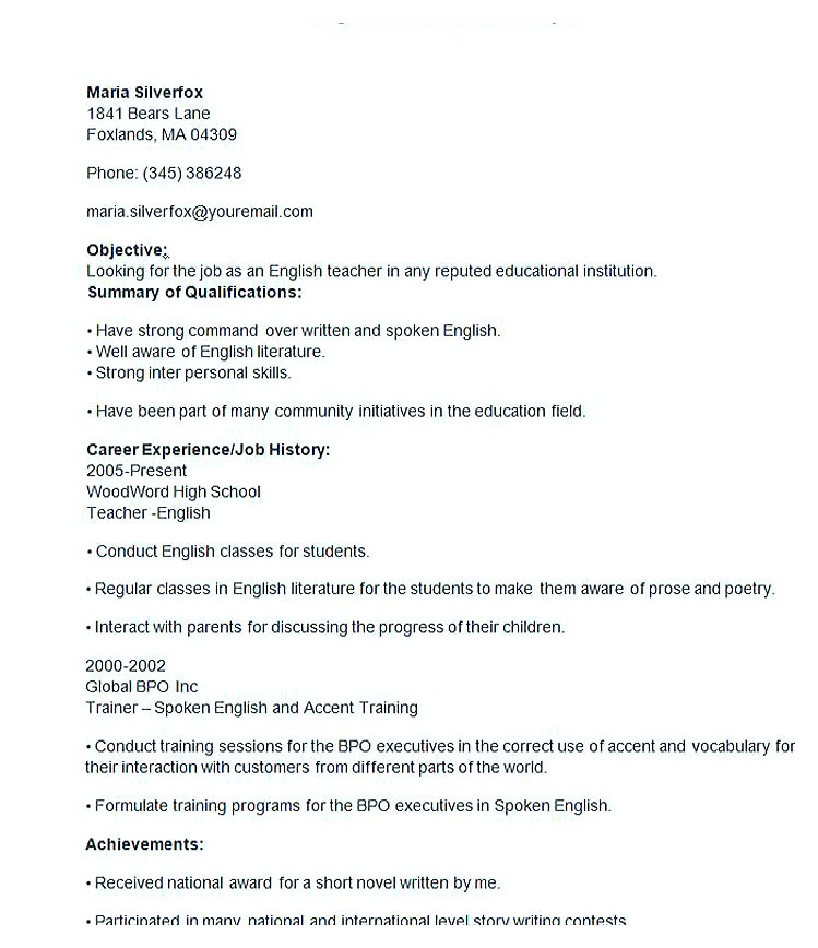 english teacher resume template - Resume Format English