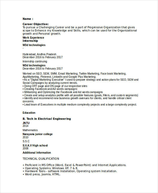 Entry Level Digital Marketing Resume