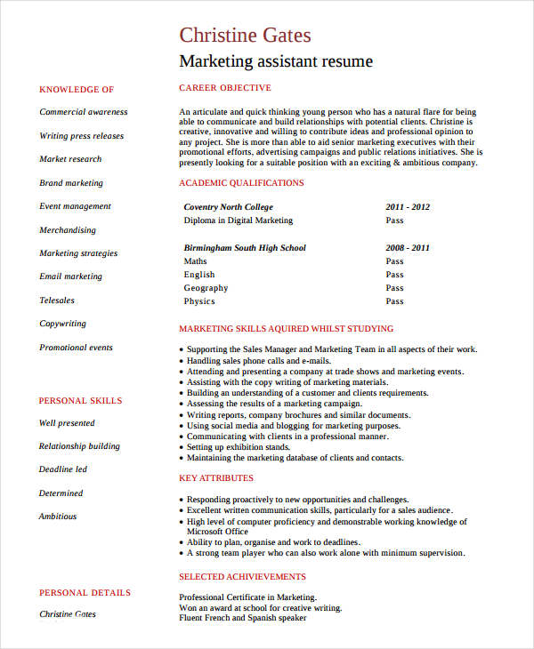 Entry Level Marketing Assistant Resume