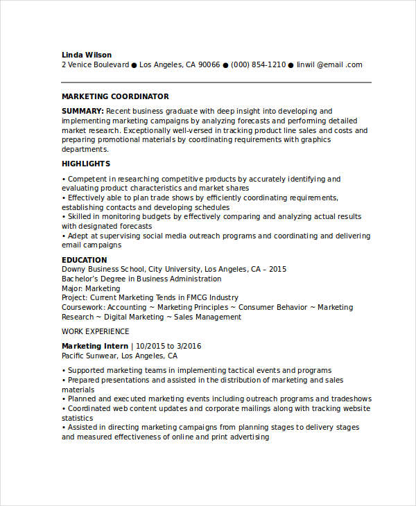 Entry Level Marketing Coordinator Resume