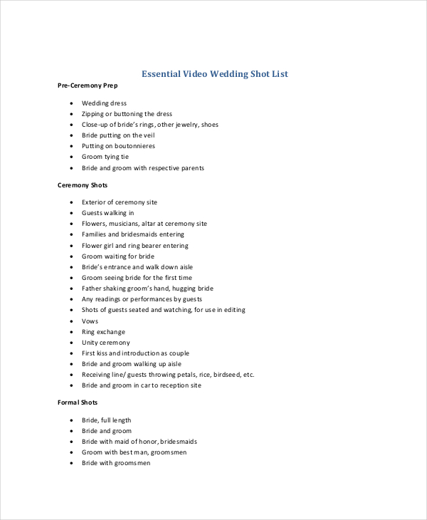 Essential Video Wedding Shot List Template