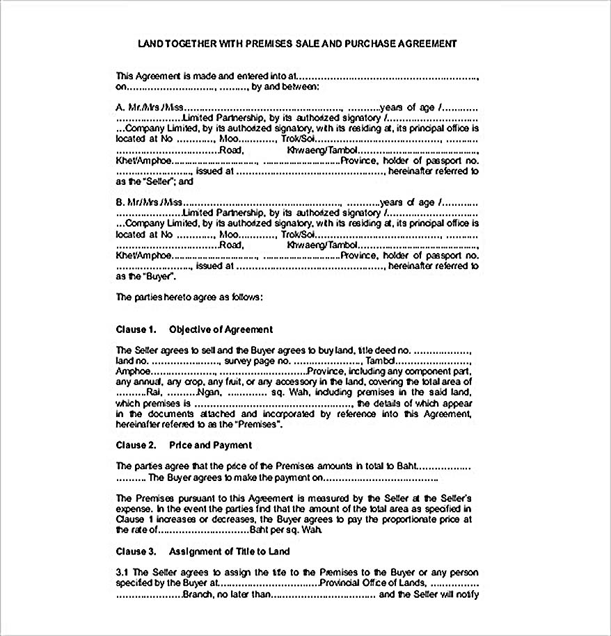 Example Land Sales Agreement Template