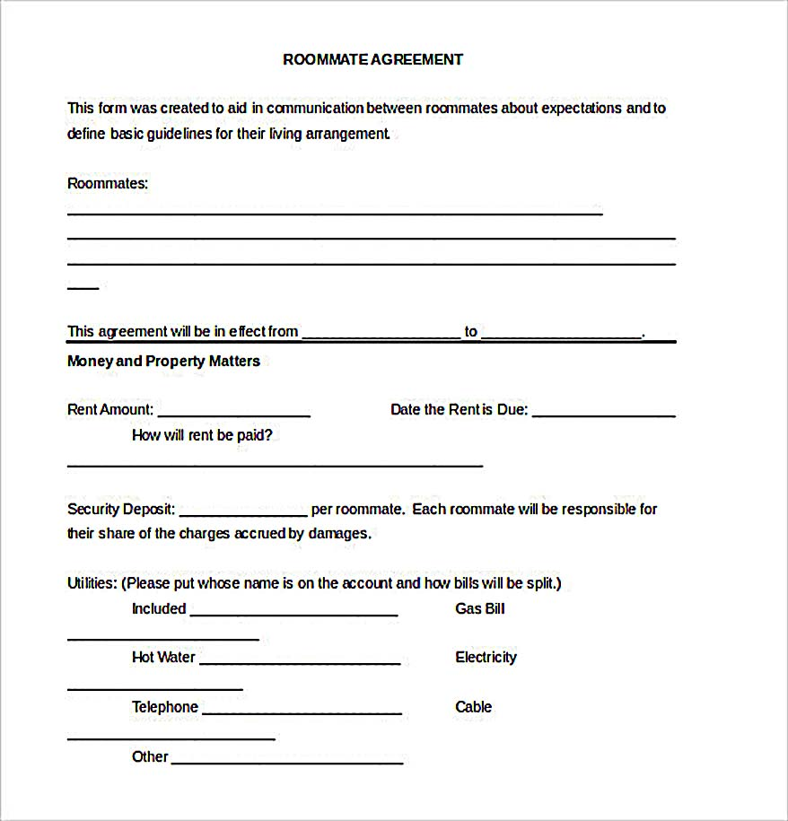 Example Roommate Agreement Download