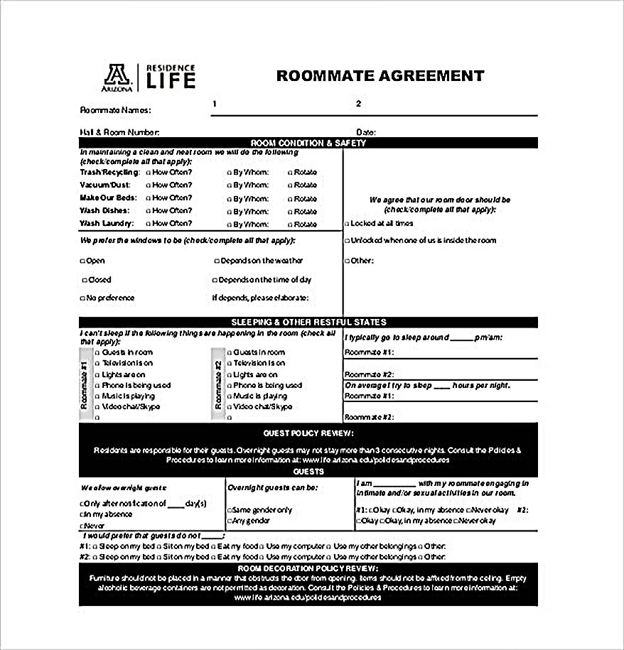 Example Roommate Agreement Templates