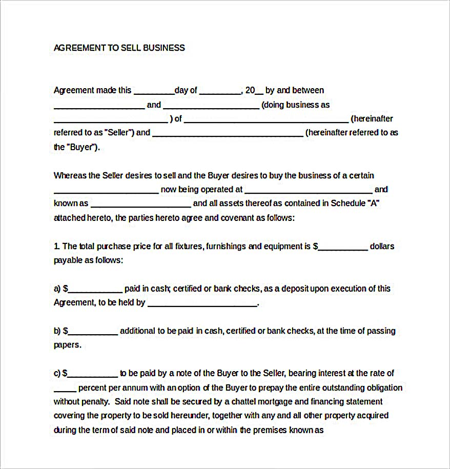 Example Sales Agreement Template