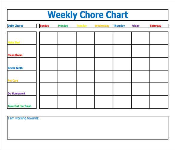 Example of Fillable Weekly Chore Chart