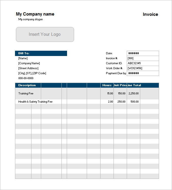 Example of Service Invoice with Customer List Excel