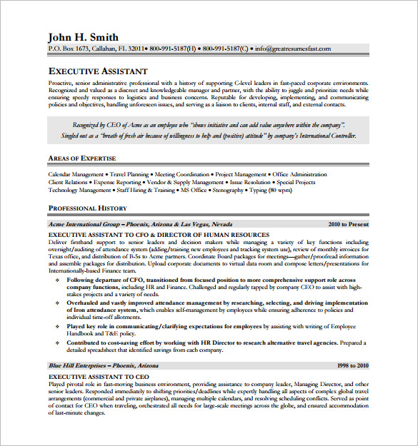 Executive Assistant Resume Free