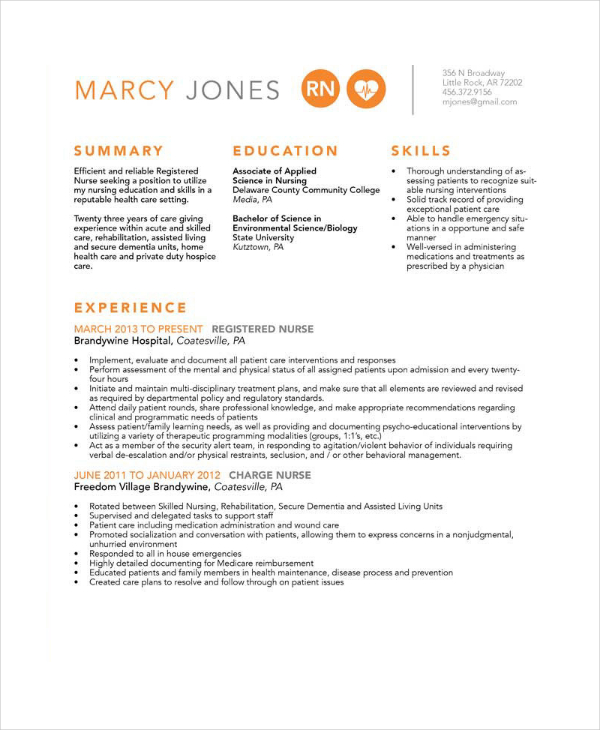 Experience Nurse Resume In PSD