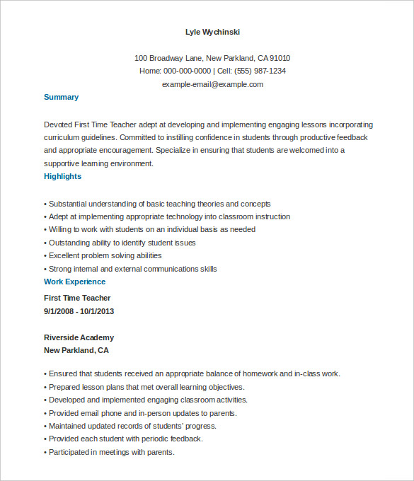 First time teacher resume examples