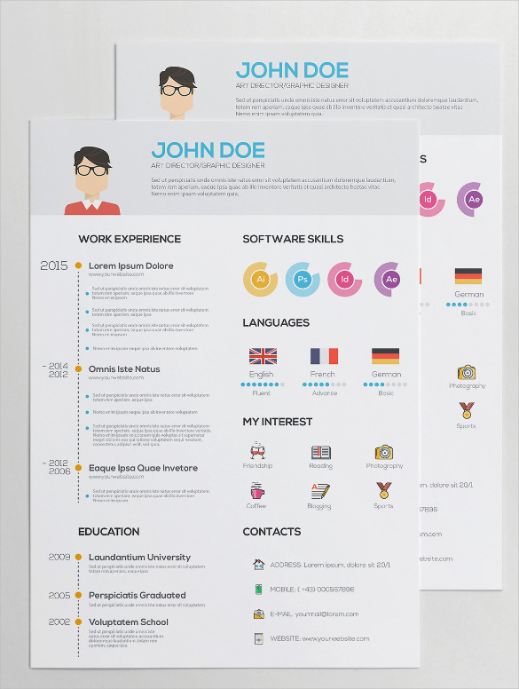 Flat Resume with Infographics AI Illustrator