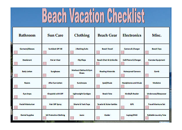 Free Beach Vacation Checklist Template PDF Format