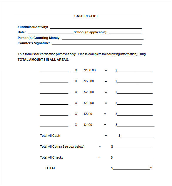 Free Cash Receipt Template  Money Receipt Template