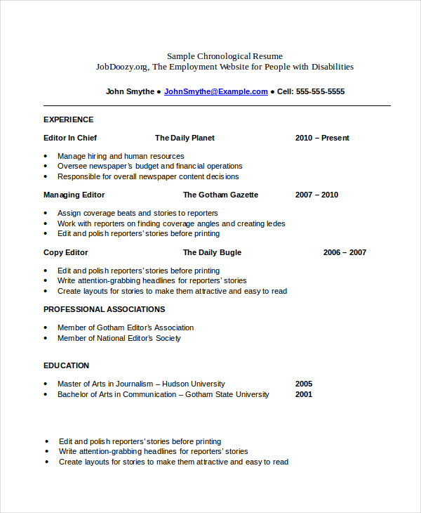 Free Chronological Resume templates