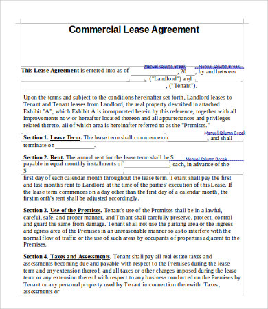 Simple Commercial Lease Agreement Template For Landowner And
