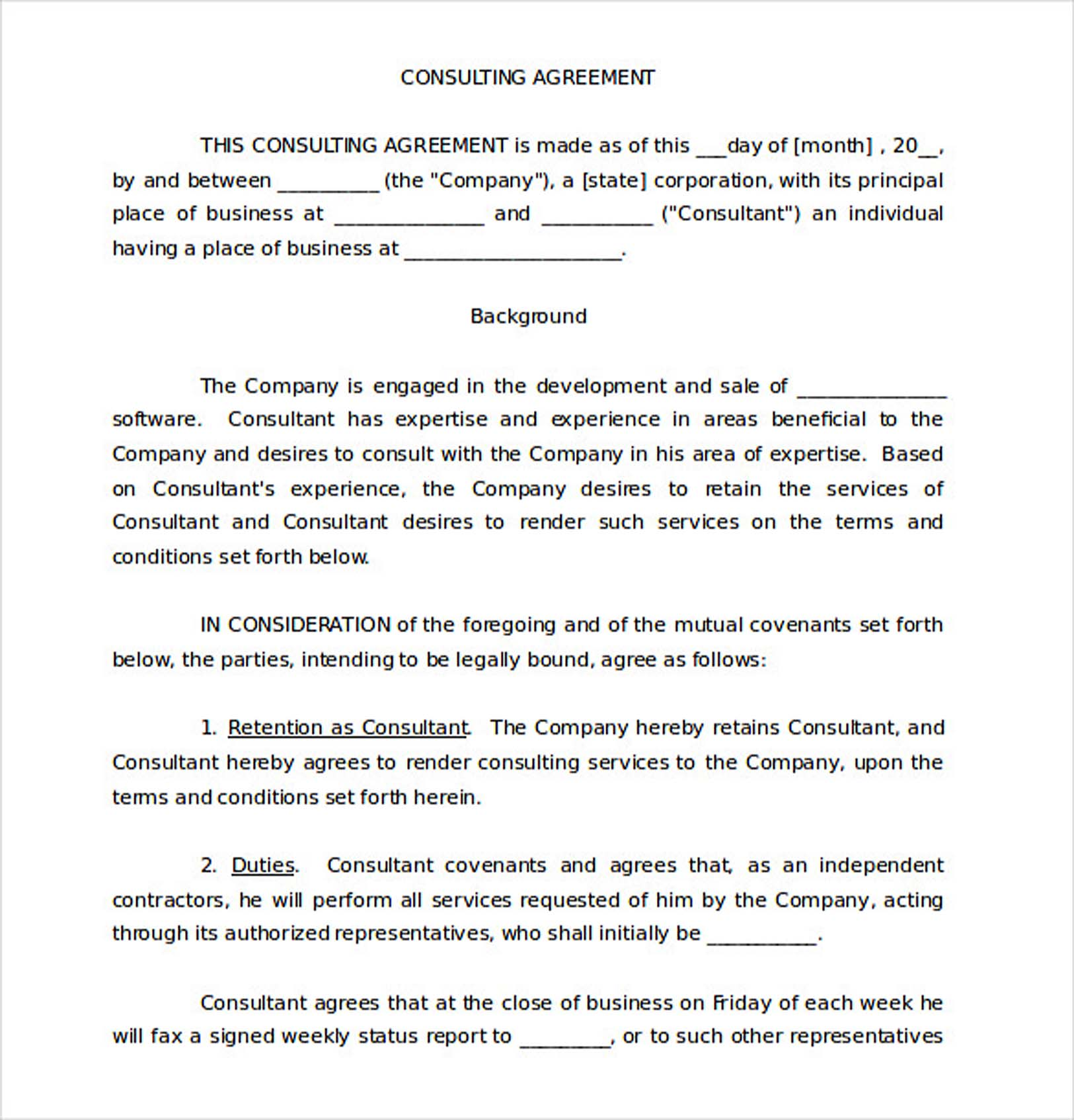 9 Consulting Agreement Template – Independent Consulting Agreement