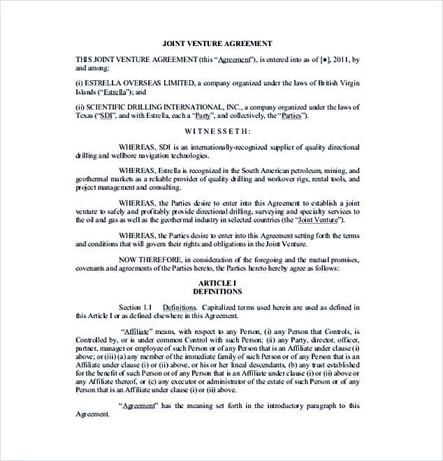 jv agreement template free joint venture agreement template
