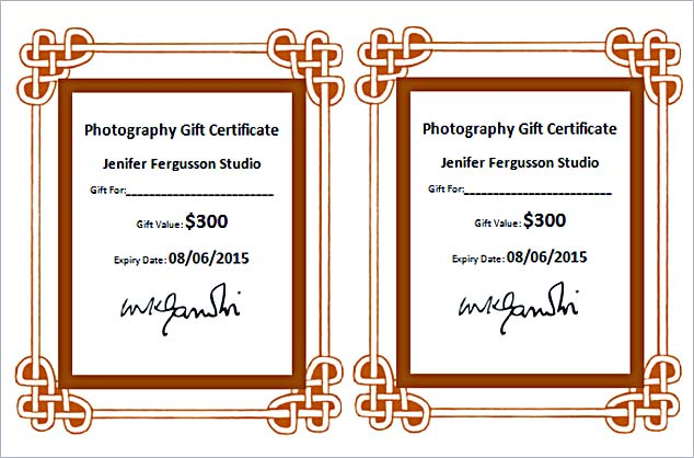 photography gift certificate template sample