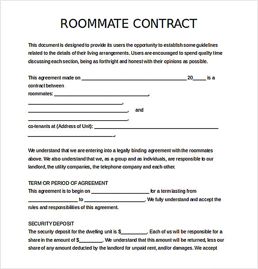 Free Download Roommate Agreement