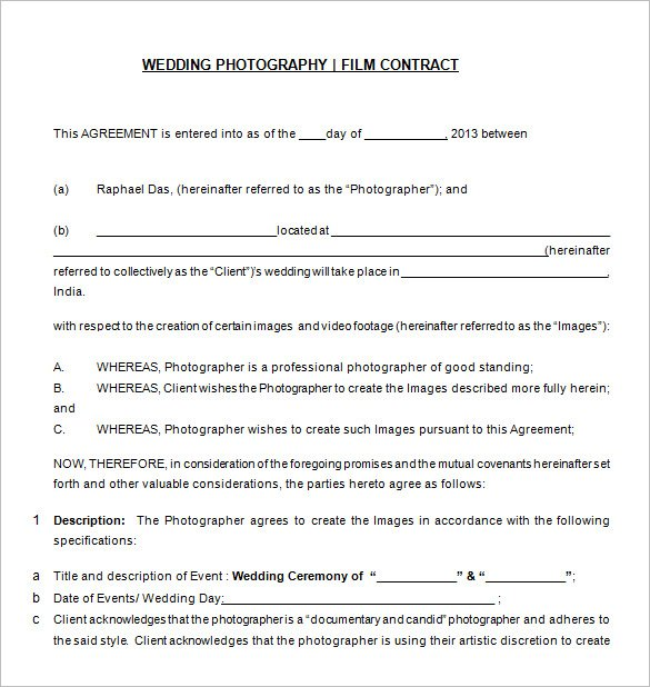 Free Wedding Photography Contract Templat