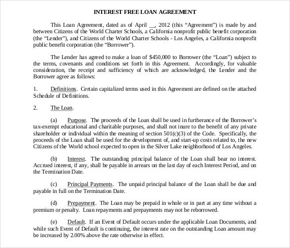 26 Great Loan Agreement Template – Loan Agreement Contract