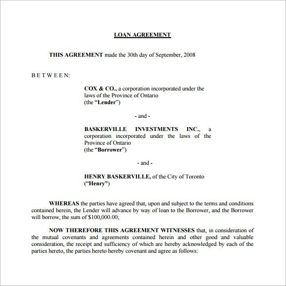 Doc468605 Loan Form Template 5 Loan Agreement Templates to – Loan Template Agreement