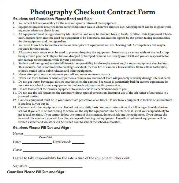 Free Photography Checkout Contract Form