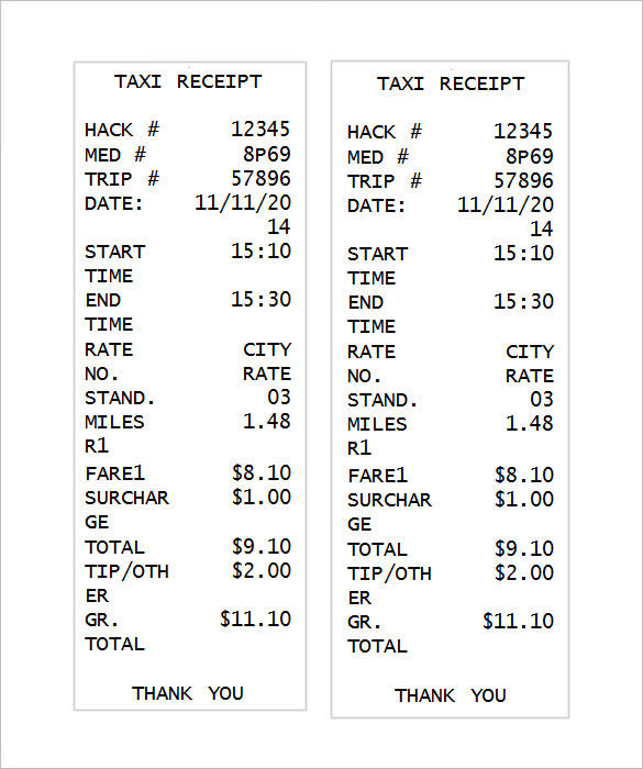 Free Receipt Template Word