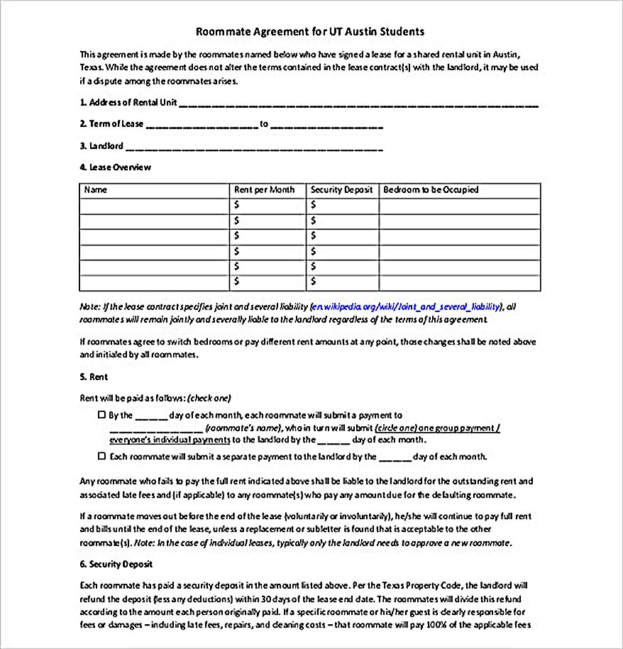 Free Roommate Agreement Template Download