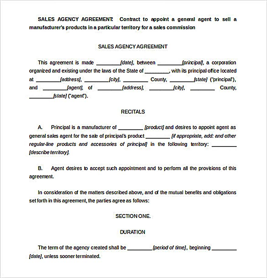 Free Sales Agency Agreement Template  Free Sales Agreement Template