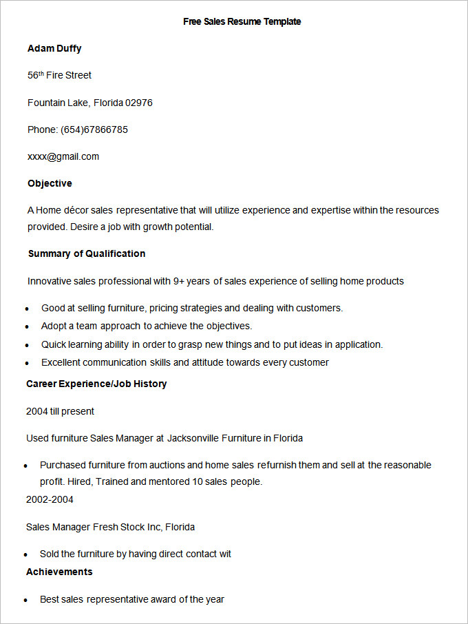 Free Sample Sales Resume Template