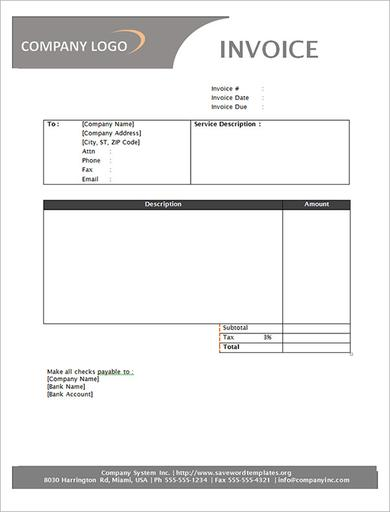Free Service Invoice Sample Template