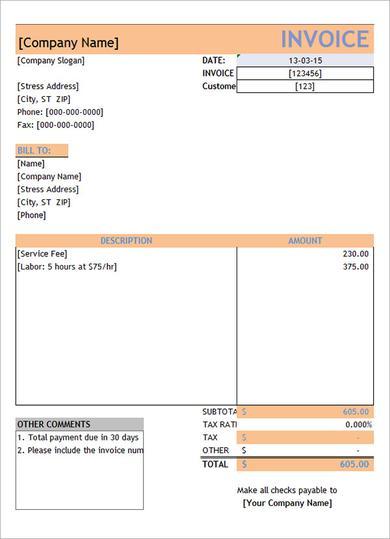 Free Service Invoice Template