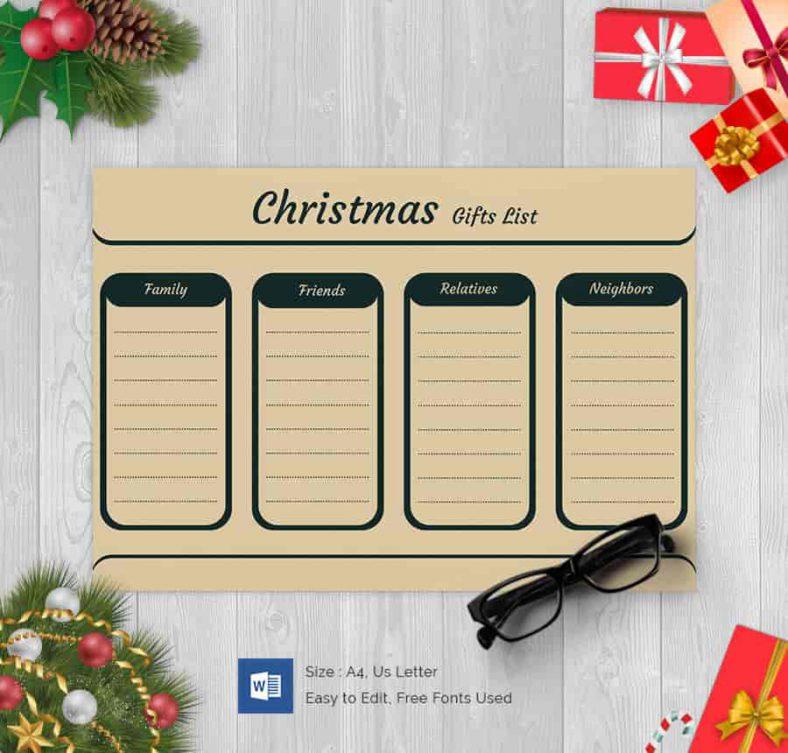 Fully Editable Christmas Gift List 788x753