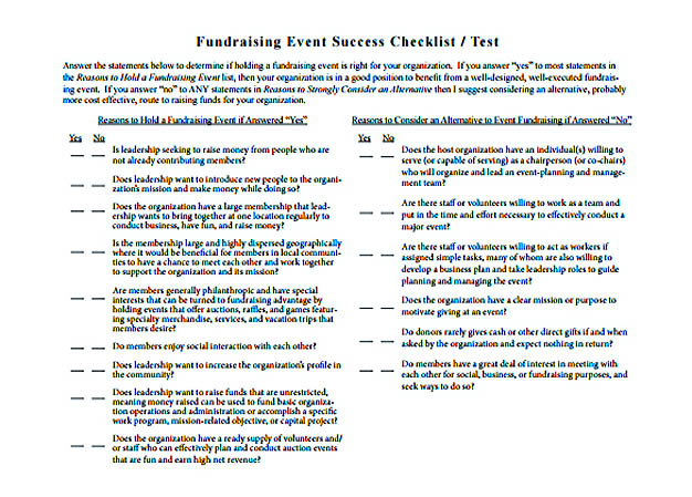 Fundraising Event Success Checklist Template Free Download