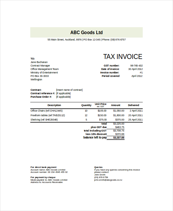 Goods Invoice Template