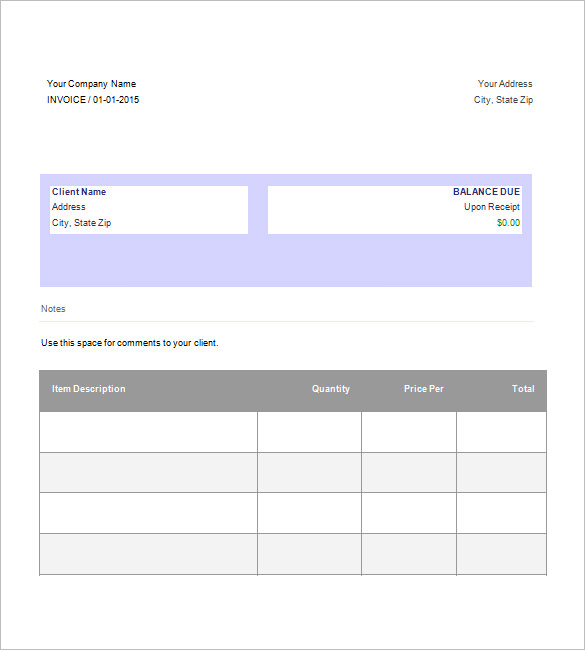 Google Invoice Template Free
