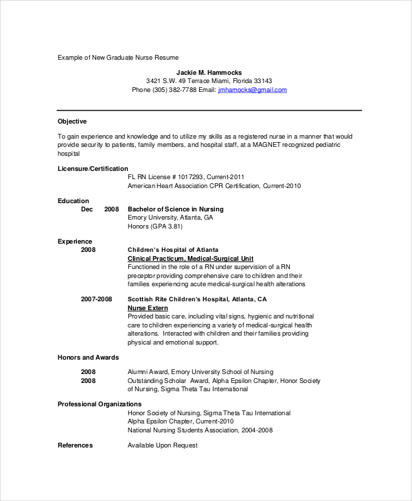 Graduate Nurse Resume In PDF
