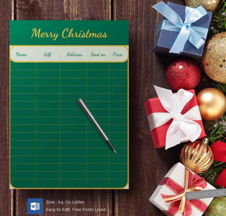 Green Board Christmas Gift List 788x753