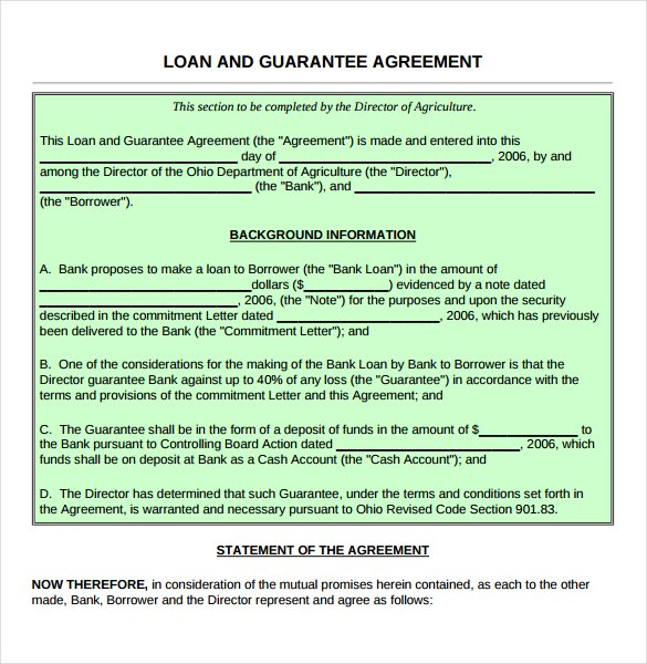 Guarantee Loan Agreement Form Template  Loan Form Template