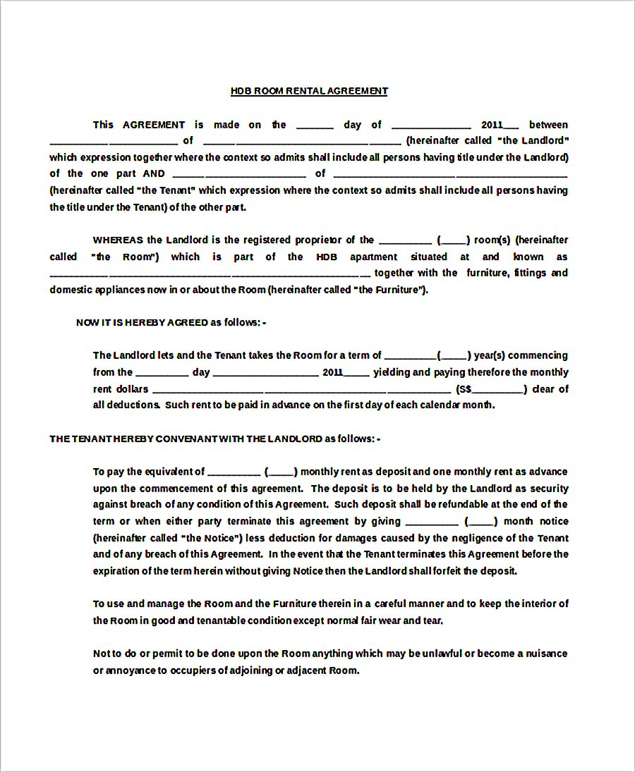 HDB Room Rental Agreement Free Doc Template Download