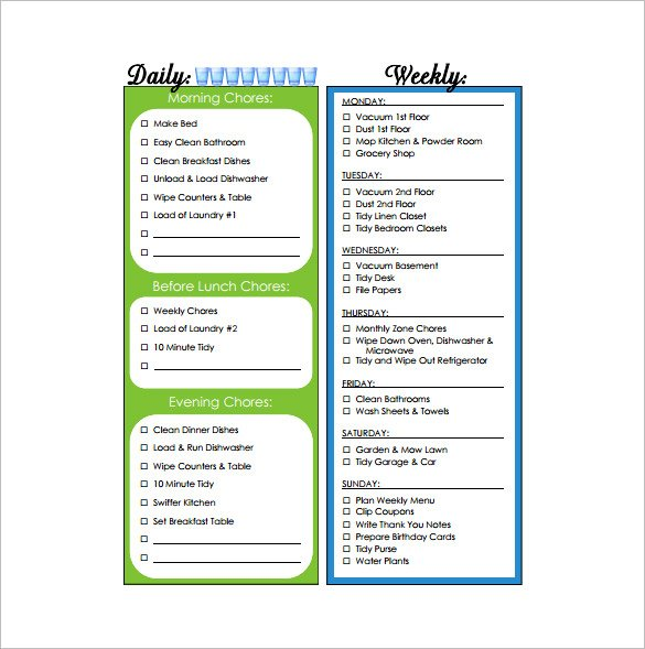 Household Weekly Chore Chart Free