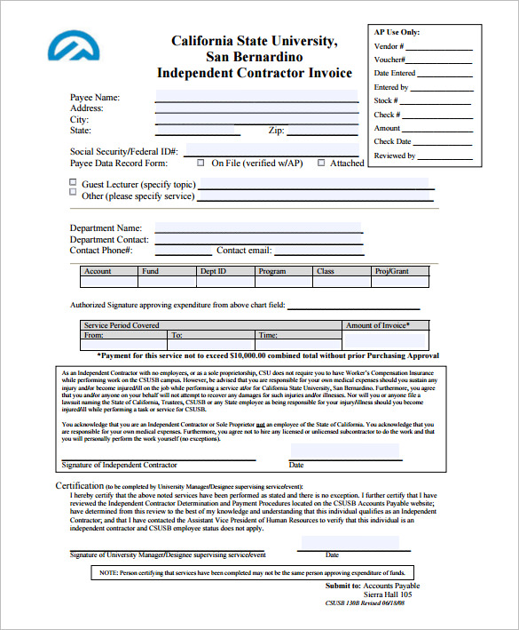 Independent Contractor Invoice Template Format
